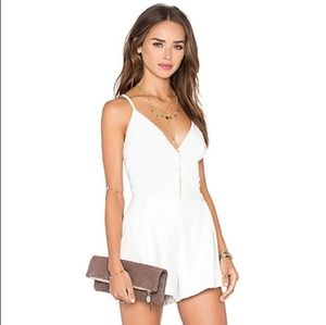 Revolve NBD In Return White Faux Leather Romper